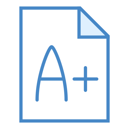 Exame icon. The exam icon is presented by a piece of paper, it is a rectangle shape object with a folded corner. In the corner there is a grade in the center such as an A+. The letter is on the paper to represent that it is a graded exam.