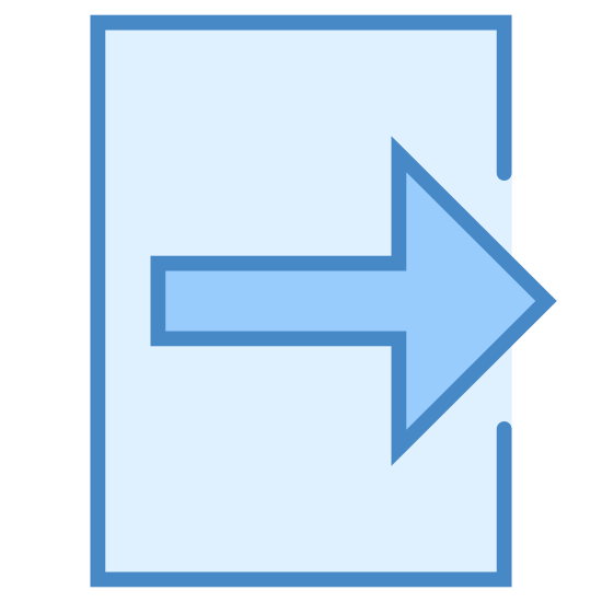 Exit icon. Consider a square with some part missing at the middle of the right side. There is an arrow pointing towards east or right side for which the tail starts from the center of square and head of arrow begins at the missing part on the right side of square.