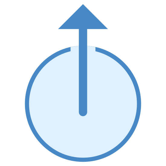 Zewnętrzny icon. The icon is shaped like a circle. At the top of the circle is a slight opening where the two ends do not meet. Starting from the center is an arrow pointing up towards the opening like the hand of a clock pointing towards the 12.