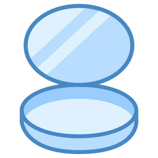 Polvo para el rostro icon. There is a lid open with three lines inside the lid. The bottom part of the container has a circle in the middle of it. That circle takes up most of the container opening.