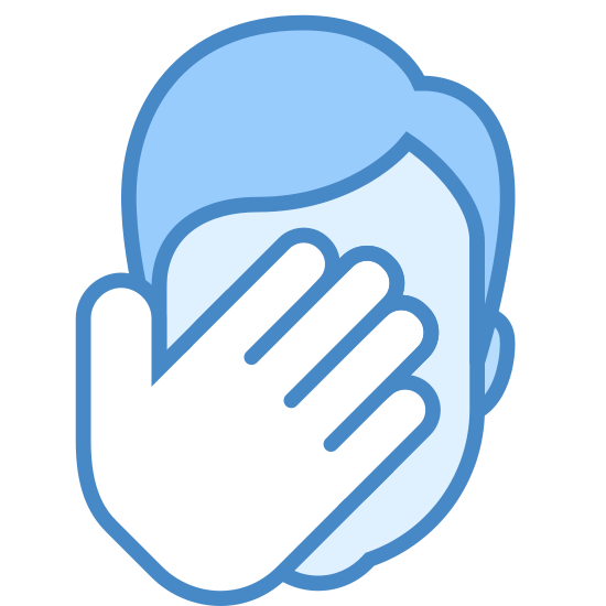 Facepalm icon. The foreground of the icon has a person's left hand with all fingers and thumb covering the background which is shaped like that of a person's head. The icon is that of a person covering their face with the palm of their hand as if in disgust or shock.