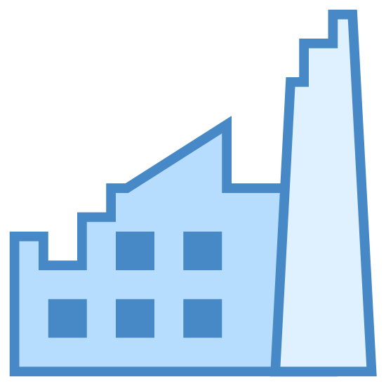 Factory Breakdown icon. This icon is complicated. On the left side, there is somewhat of a square with the top two sides pointing diagonally and a lightning bolt through the whole thing. On the right, there is a rectangular shape that is attached, and is much taller.