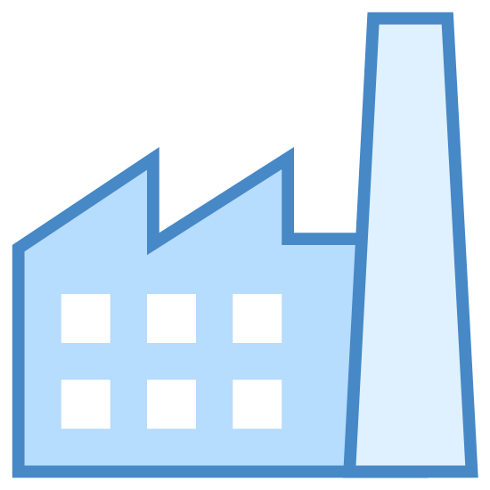 Fabryka icon. A black and white outline image of a building and a single smoke stack on the right that goes higher than the rest of the building. The building has six windows and it has an angled roof divided into two sections.