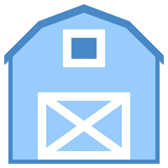 Farm icon. The icon shows a barn on a farm. The barn is mostly square, but the roof is rounded and it hangs over slightly past the building. There is a large door on the barn with an X through it, and a window above the door.