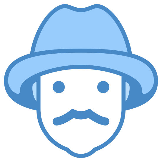 Rolnik mężczyzna icon. The image if of a person with no face. The person has ear and a pointed chin that's a bit rounded. The person has a hat on their head. The hat is a fedora style with a rim all the way around.