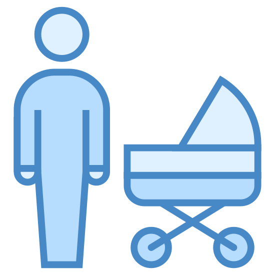 Father icon. This is an image of a man. And an image of a baby stroller on the right hand side of him