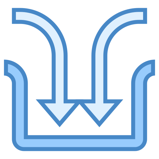 Feed In icon. This icon looks to be an unfinished square. Instead of having the top sides connect, there is a gap that has two arrows with curved tails going into it. The arrows are pointing down.