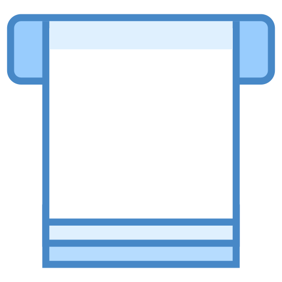 Feed Paper icon. The icon is a trapezoid shape and under the base are two horizontal lines one on top of another. At the top right and left of the trapezoid are two smaller rectangle shapes sticking out at both ends.