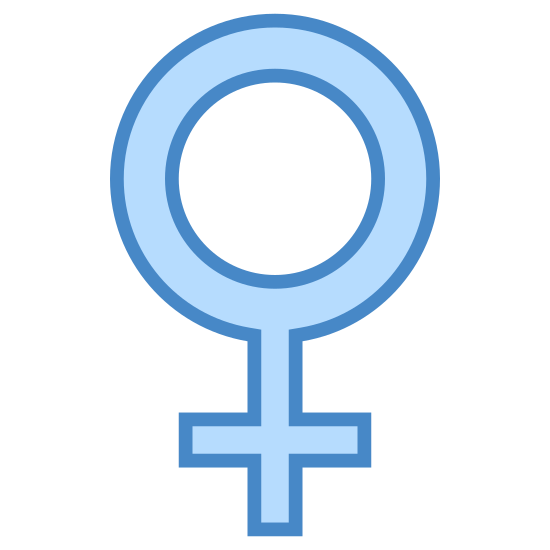 Płeć żeńska icon. It is the symbol for females, opposite of the male symbol. There is a large hollow circle with a cross slightly smaller in size attached directly to the center bottom.