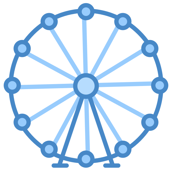Ferris Wheel icon. This icon is of a ferris wheel. It is a round circle with 8 small shapes positioned on it. The shapes are very small with a straight bottom and a rounded top. It has two legs at the bottom coming to the center and joined with a circle.