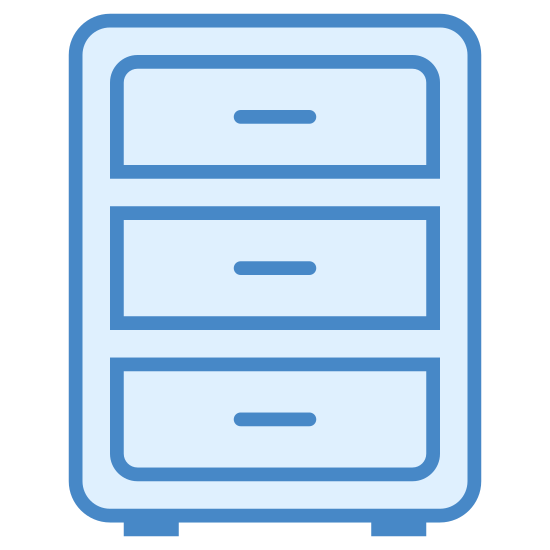 Szafka na dokumenty icon. The icon is a filing cabinet. It is shaped like a column, with three drawers on it. The drawers are rectangular and similar in appearance. The bottom and top drawers are beveled while the middle drawer is not. Each drawer has a handle.