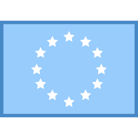 Flag Of Europe icon. This icon shows a basic flag design of the flag of Europe. It has an enclosed rectangle. On the inside of the rectangle there are 12 small stars forming a circle.