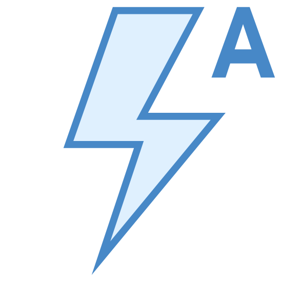 Auto Flash icon. It's a black outline of a lightning bolt positioned straight up and down, with one jag in the lightning bolt. A black capital letter A in a sans-serif font is in the top right corner, with the top of the letter A level with the top point of the lightning bolt.