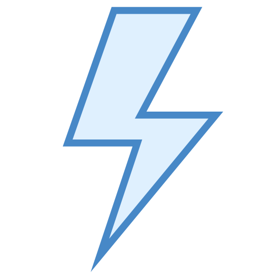 Flash On icon. This is a picture of a flash of lighting that is very pointy. it is representing the flash of a camera. the top of the lightning bolt is pointed towards the top right hand corner, while the bottom is pointing down and center