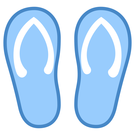Flip Flops icon. The icon resembles two upside down pear shapes that are side by side. Each of these two shapes, starting at the top and ending at the middle, have a wishbone looking shape inside of it.