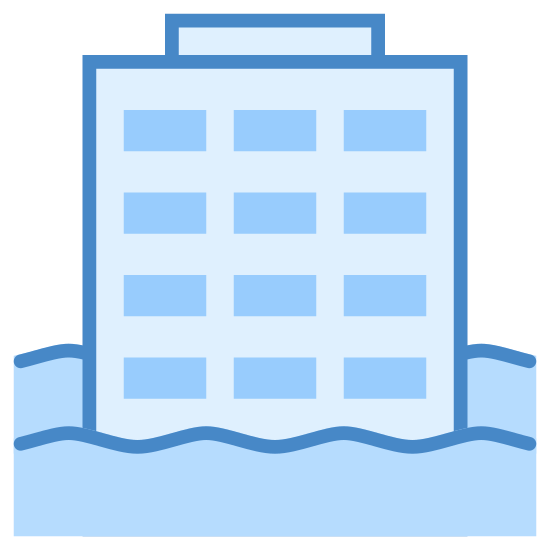 Floods icon. A three story building with two rows of windows on the front. There are wavy lines along the bottom of the building indicating that it is completely flooded with water.