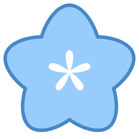 Flor icon. The icon is a five petaled flower, that looks very much like a cartoon rendition of a star. Each petal is of similar size and within the flower itself one can see a stamen that is made of five marks.