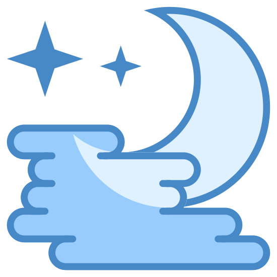 Fog icon. This icon is three small lines, staggered in an alternating way with half of a crescent moon shape drawn over it. The moon shape begins on the top of the top line and goes down on the right side of the three lines ending on the end of the third line.