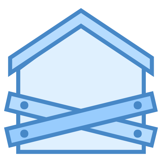 Juicio hipotecario icon. This logo for foreclosure is a house with wooden boards nailed to it in the front. The house has an angled roof with a small chimney protruding from it's rear. The boards are nailed in an X pattern across the front to signify that the house has been foreclosed upon.