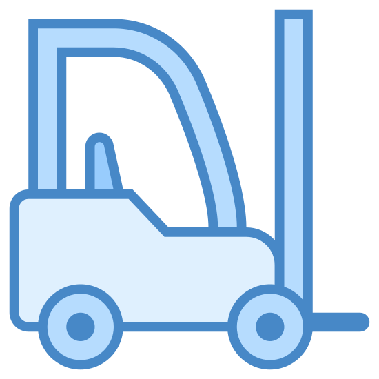 Fork Lift icon. This is a drawing of some sort of machinery that you would find at a construction site. It would be machinery that would be used to lift heavy equipment and there is a lift on the front.