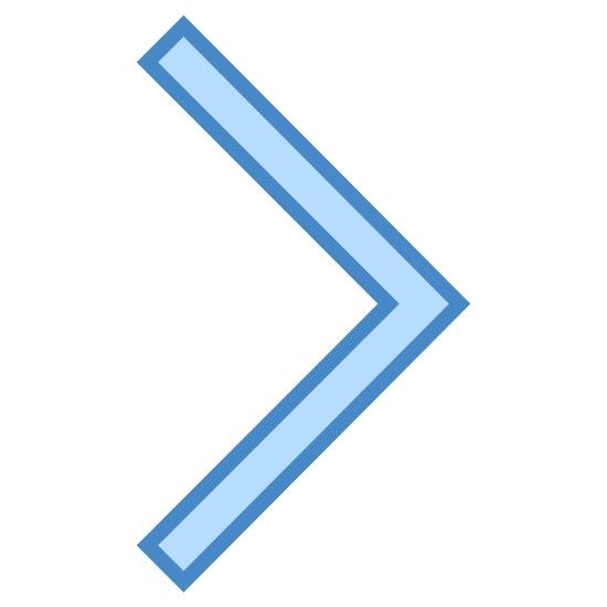 Forward icon. This is a very simple icon that is made up of two lines that meet to form a point. It looks just like a triangle missing one side. Imagine a short, squat triangle stood on end with the bottom removed and this is what you would get.