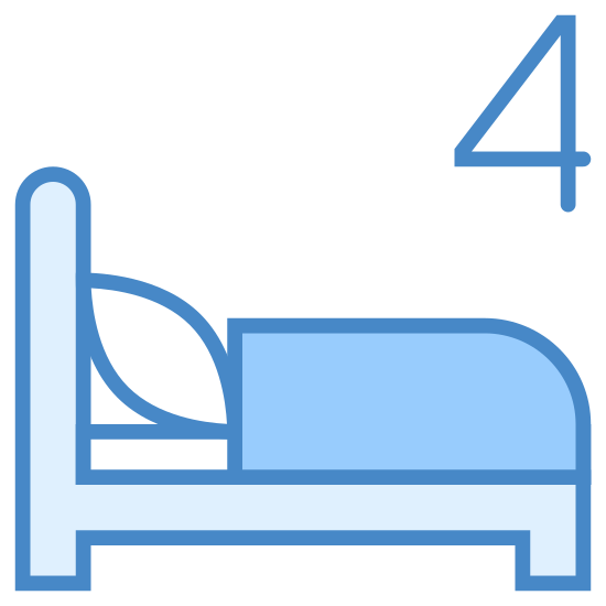Four Beds icon. The four bed symbol is a bed, but on the top of the bed there will be a number 4. The bed has a headboard and footboard and a mattress on top of it. The bed will also be shown with a pillow and blanket, but there are not 4 different beds.