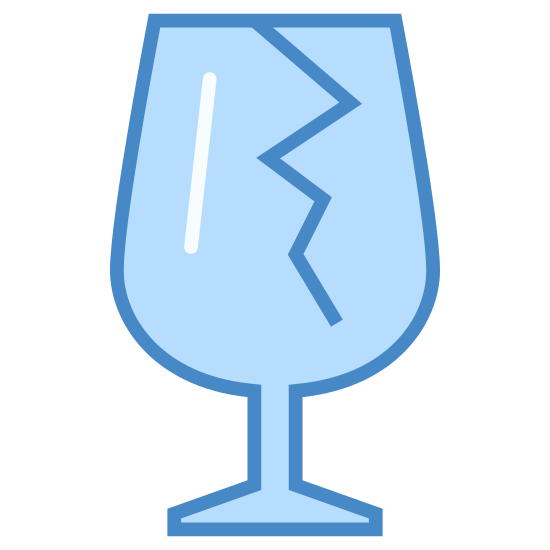 """Fragile icon. This is an image of a wine glass. The wine glass has a crack from the top rim going down into the middle. This is exactly like the image you would see on many boxes to indicate """"fragile"""" or """"breakable"""" items within."""
