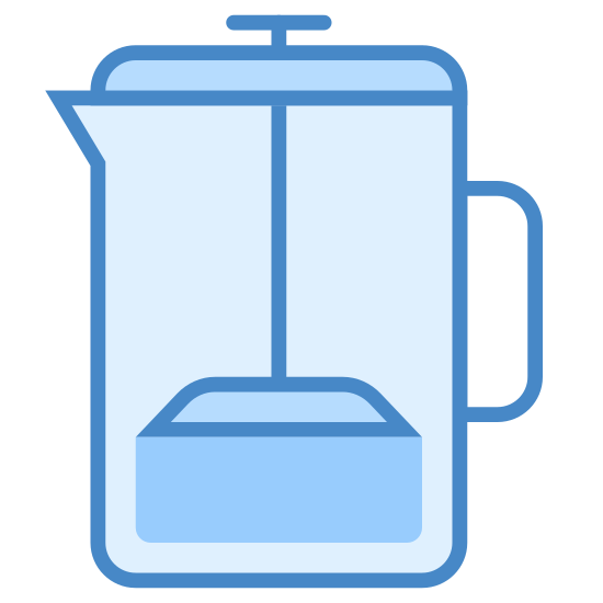 French Press icon. There is a black circle at the top. there is a spout to pour a drink out of. there is also a handle. the object is in the shape of a rectangle