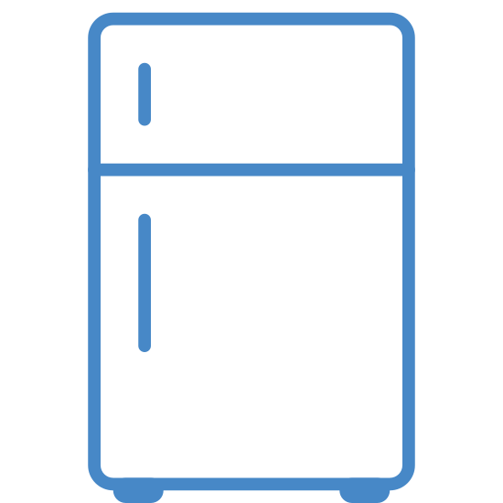 Fridge icon. It's a logo that represents a refrigerator.  The logo is a picture of a basic top freezer refrigerator with the handles on the left hand side of the unit.  It also has two feet visible at the bottom of the fridge.