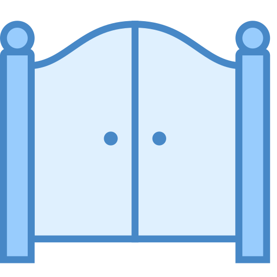 Gate icon. It's the image of a stylized gate, with two gate doors hinged at the exterior to two poles. The two poles have a decorative ball at the top, and the gates arch up in the middle. Each gate door has a knob near the center of the image.