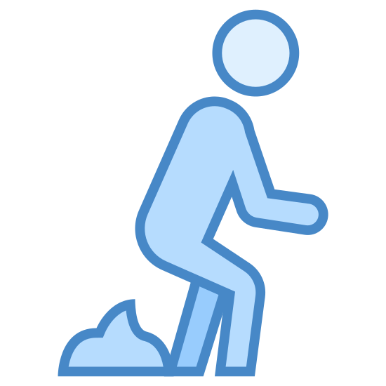 Pełen gówna icon. There is a bathroom style man symbol where head floats above body squatting down with his head, knees and arms facing to the right. Below his butt is a pile of poop.