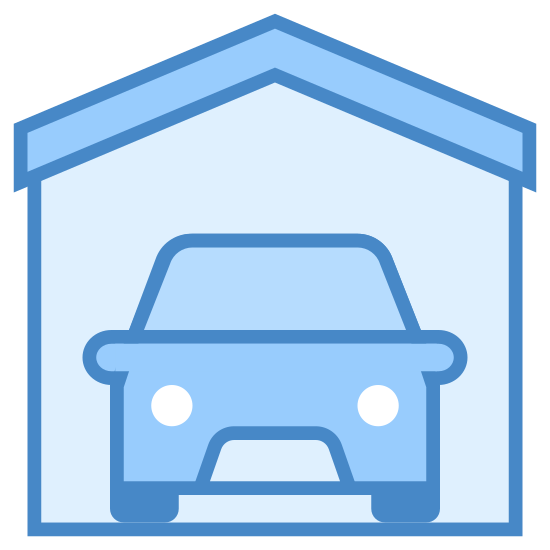 Garaż icon. This is a car inside of a structure that is shaped like a house. The outside shape is like a triangle on top of a square but not lines separate it and the front of the car is visible inside.