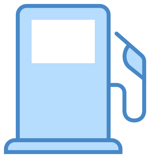 Gas Station icon. It is a icon for a gas pump. It has the front screen and the hose for pumping gas. The hose for pumping gas is unhooked from the pump, it has a long nozzle and handle.