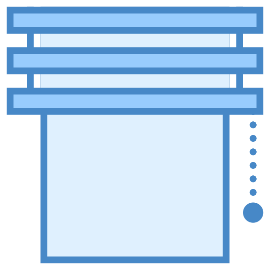 Jalousie icon. The image is a rectangle that looks like a window. Across the top of the window are horizontal bars like blinds. There is a dotted chain hanging from the right side of the blinds. The end of the chain has a bigger dot than the rest of the chain.