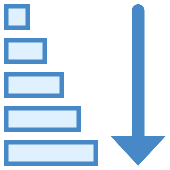 Ascending Sorting icon. There is 5 horizontal lines going downwards and as they go down they get progressively longer and longer, to the right of these lines is a single arrow pointing downward, starting at the base of the first horizontal line and ending at the final line.