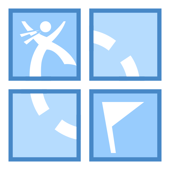 Geocaching icon. The icon is shaped like a circle but the ends do not completely touch one another. Instead the bottom end continues inside the circle and forms the shape of a cross at the center of it.
