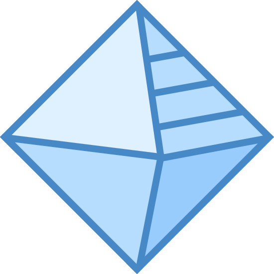 Geometry icon. It is a logo of a 3-dimensional diamond. The left sides are plan, but the upper right has dots and the bottom right has stripes.
