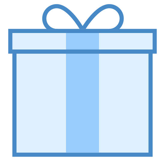 Prezent icon. It's a logo to represent a gift and looks like a square box with a ribbon around it. The logo has a square lid on top of the square box an the ribbon on top is tied to look like tied shoe lace.