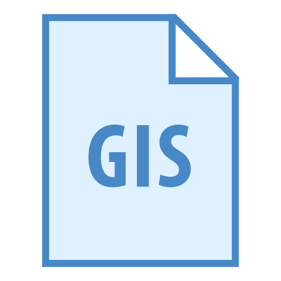 GIS icon. There is a piece of paper. The top right of it is folded down slightly. In the middle there is text that reads GIS.