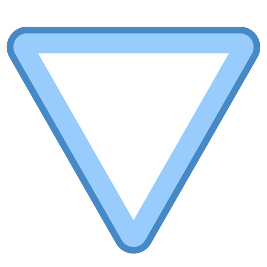 """Triangle Arrow icon. The icon is an upside down equilateral triangle. By """"upside down"""" is meant that, instead of resting on one of its sides, it is standing on one of its points. It looks like a letter """"V"""" with the top closed."""