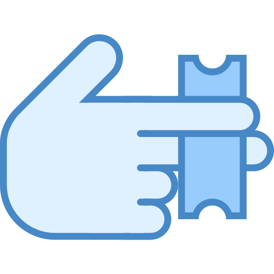 Giving Tickets icon. The icon is a hand with its index finger and middle finger extended and the ring finger and pinky clenched into the palm. The fingers are holding a small ticket, notched on either side, between them. The icon represents the transfer of tickets to another entity.