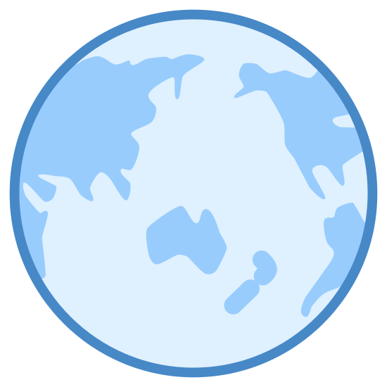 Glob - Azja icon. The icon is a simplified depiction of the planet Earth, centered in the Pacific Ocean just north of Australia. The globe permits a good view of Asia, intended to be the focused-upon area, while permitting glimpses of part of Africa and both Americas. The continents are represented by crude outlines.