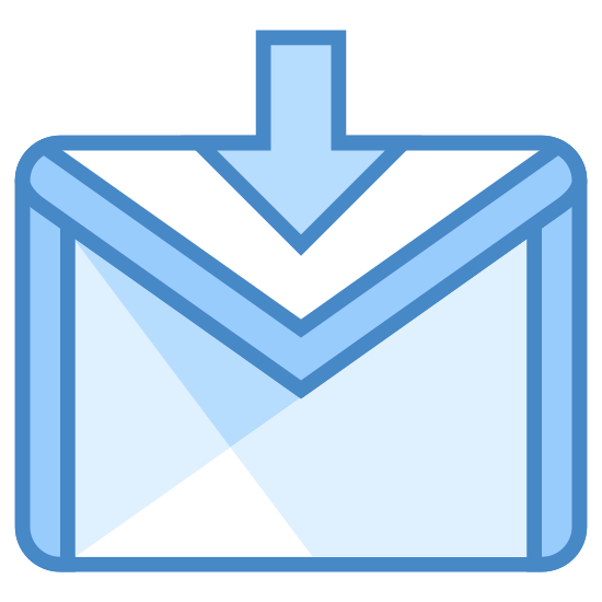 """Logowanie Gmail icon. This is the G-Mail login logo. There is a rectangle which contains an """"M"""" that uses the left and right of the rectangle to form the left and right of the """"M"""". There is an arrow through the top that points down."""