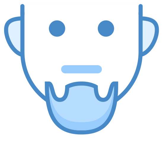Goatee icon. The icon is the hairless face of a cartoon man. His eyes are open wide and he has a frown on his face. However, what seems to be popping out is his goatee, a small patch of hair on his chin.