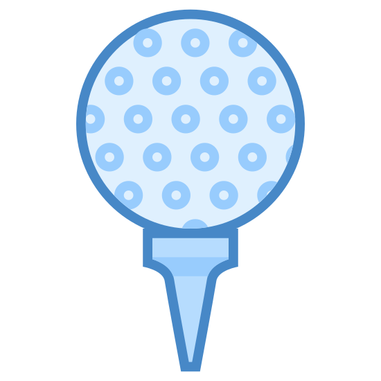 Golf Ball icon. This is a golf ball resting on a golf tee. It has dimples along the bottom right hand side to help keep it steady in the air. The tee is driven most of the way into the ground below it and only the small head portion is sticking out of the flat surface below it.