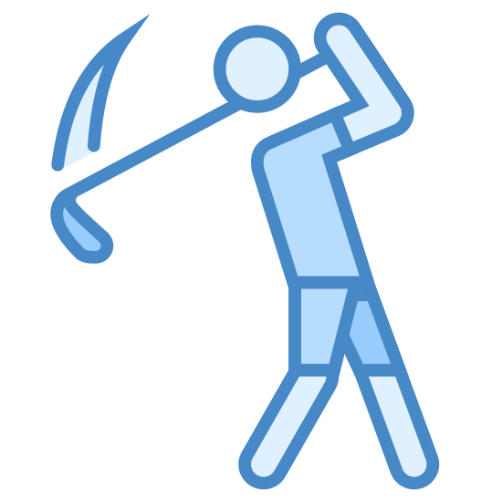 Golf icon. It's and outline of a person. They are in the middle of swinging a golf club. The club is over their left shoulder and has two lines coming off of it indicating that it is moving fast.