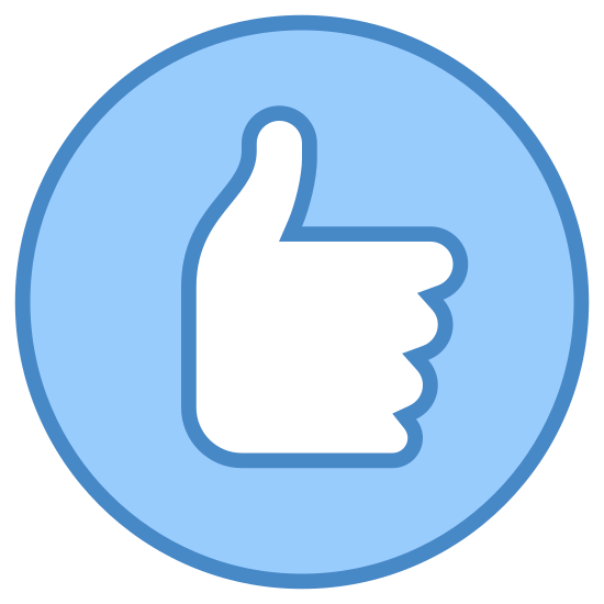 Good Quality icon. This is an image of a circle.  Inside of the circle is the profile of a hand.  The hand has only its thumb outstretched and is making a thumbs-up sign.