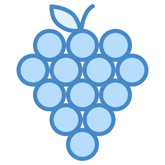 Grapes icon. It's an icon of a bunch of grapes with a short stem still attached. The stem is at the top and cut off at the very top, where there are eight circles evenly spaced representing each of the hanging grapes.
