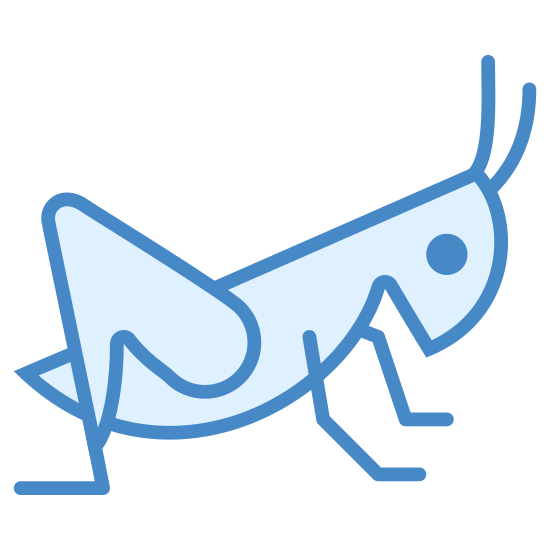 Grasshopper icon. This icon represents a grasshopper. On the right side of the icon is two antennas attached to a head with one small round eye in the middle. The head leads down into a point and around to a rounded body with three legs showing, two small and one large one with little jointed feet on them.