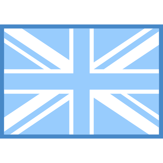 Wielka Brytania icon. It's a logo of the flag of the United Kingdom. It's a rectangle with a cross in the middle then another thinner cross outlining that with lines going diagonally out of it to the edges too.